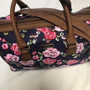 Floral purse, navy/pink with brown trim.,  NWOT
